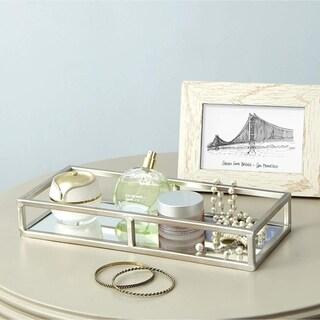 Egnazia - Silver Metal Mirror Tray - Medium Rectangle Open Style