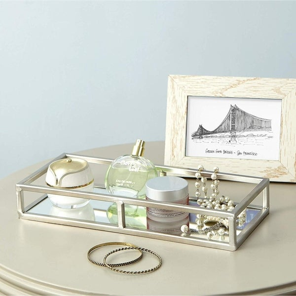 Egnazia - Silver Metal Mirror Tray - Medium Rectangle Open Style