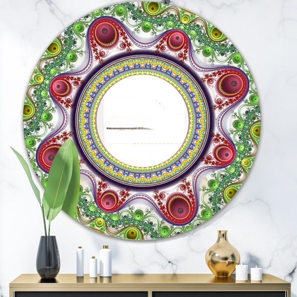 Designart 'Circles & Curves II' Modern Mirror - Contemporary Oval or Round Wall Mirror - Green