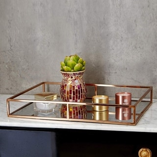 Egnazia - Rose Gold Metal Mirror Tray - Large Wide Rectangle Open Style
