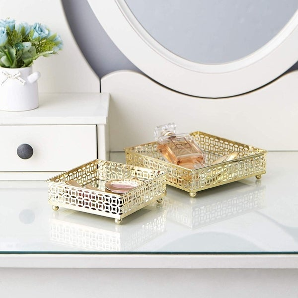 Egnazia - Gold Metal Mirror Tray - Small Square Bright-Eyed Suzy (Set of 2)