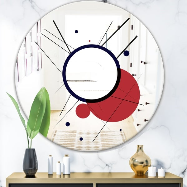 Designart 'Circular Web 2' Mid-Century Modern Mirror - Oval or Round Wall Mirror - Red