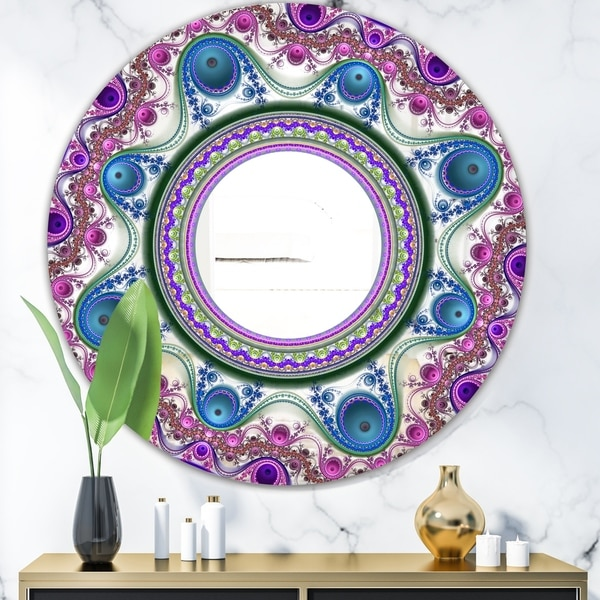 Designart 'Circles & Curves' Modern Mirror - Contemporary Oval or Round Wall Mirror - Purple