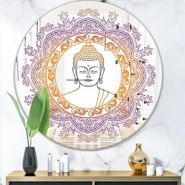 Designart 'Buddha Mandala' Modern Mirror - Contemporary Oval or Round Wall Mirror - Multi