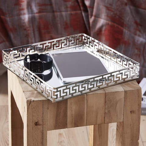 Silver Orchid Costello Medium Square Silver Metal Mirror Tray