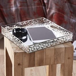 Egnazia - Silver Metal Mirror Tray - Medium Square Greek Key