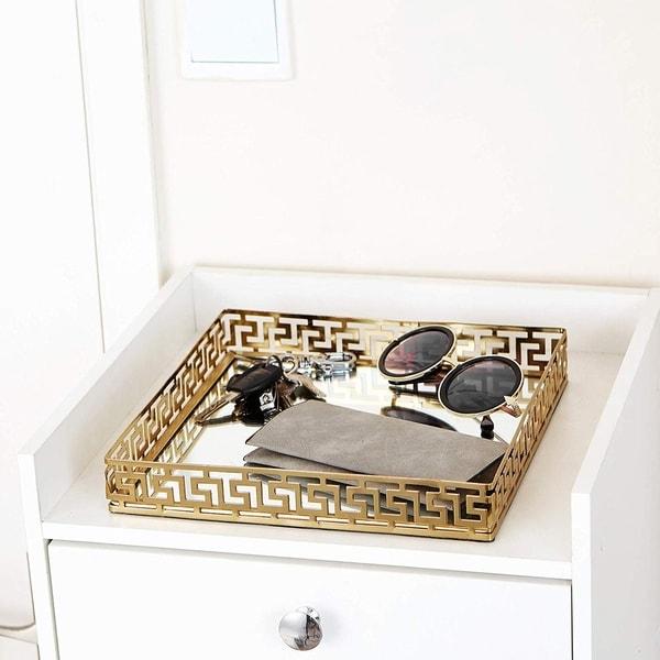 Egnazia - Gold Metal Mirror Tray - Medium Square Greek Key