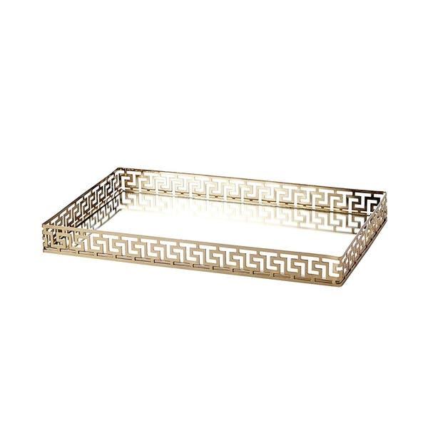 Ega Gold Metal Mirror Tray Large Rectangle Greek Key