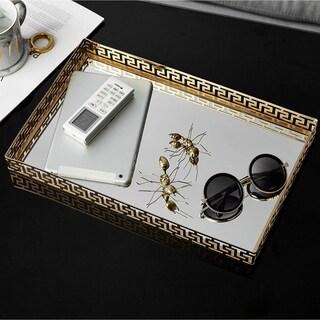 Egnazia - Gold Metal Mirror Tray - Large Rectangle Greek Key