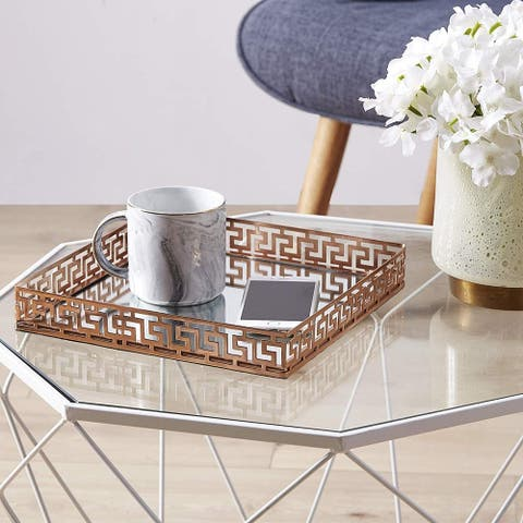Silver Orchid Costello Rose Gold Metal Mirror Tray