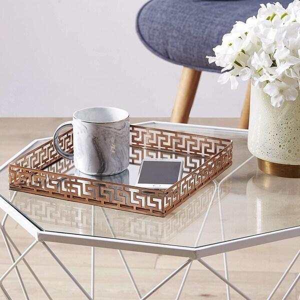Egnazia - Rose Gold Metal Mirror Tray - Medium Square Greek Key