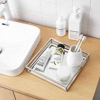 Egnazia - Silver Metal Mirror Tray - Medium Square Open Style