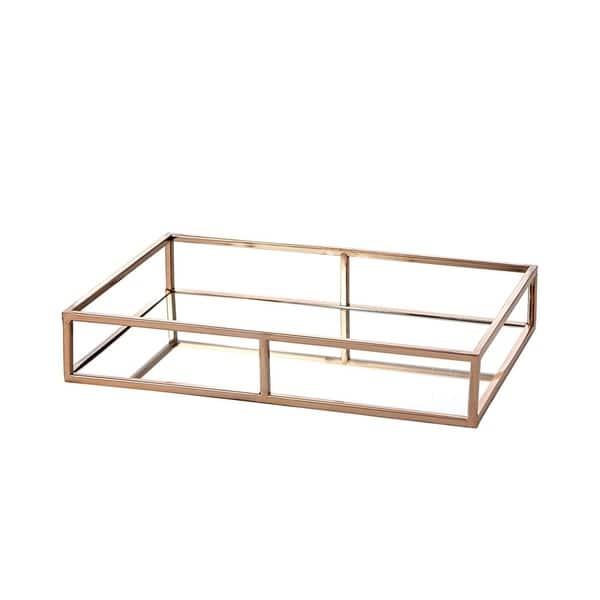 Ega Rose Gold Metal Mirror Tray Medium Long Rectangle Open Style