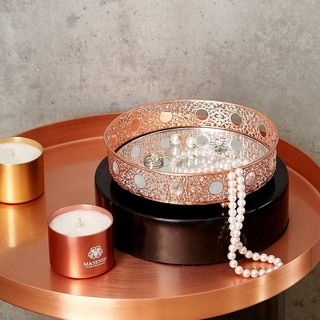 Egnazia - Rose Gold Metal Mirror Tray - Small Rounded Intricate