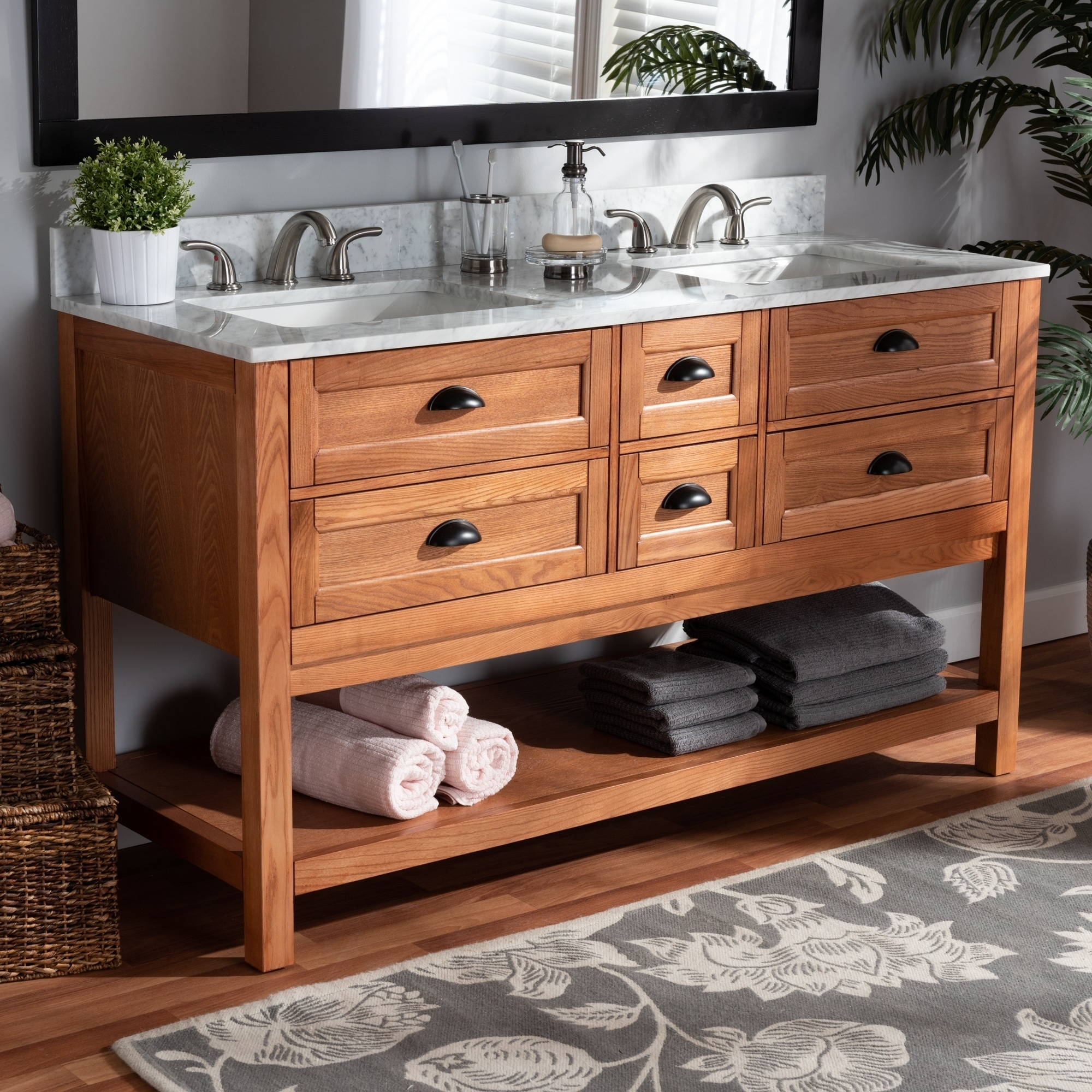 Farmhouse Country Double Sink Bathroom Vanity Overstock 28560648