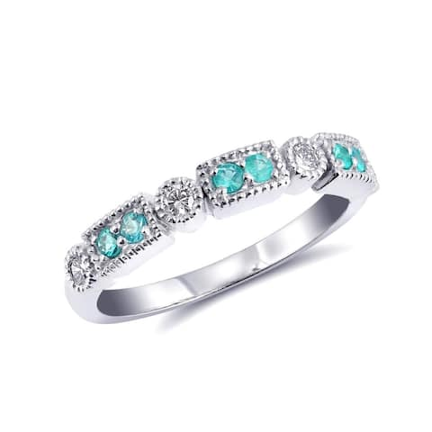 14K White Gold 0.28ct TGW Round-cut Paraiba Tourmaline and Diamond One-of-a-Kind Ring