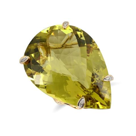 18K Yellow Gold 63.03ct TGW Pear-cut Olive Green Quartz and Diamond One-of-a-Kind Ring