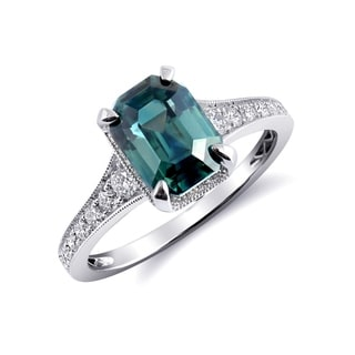 Platinum 2 61ct TGW Octagonal Cut Blue Green Sapphire And Diamond One Of A Kind Ring