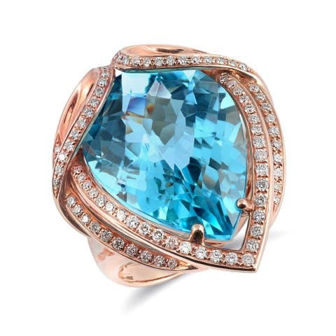 18K Rose Gold 20.62ct TGW Pear-cut Swiss Blue Topaz and Diamond One-of-a-Kind Ring