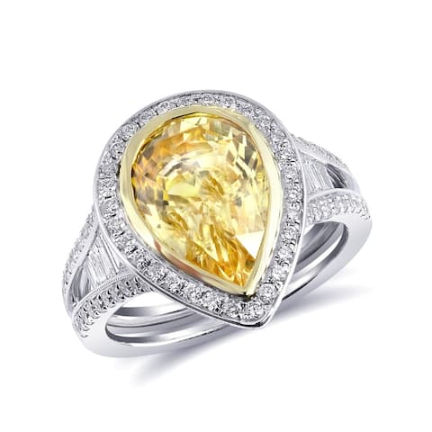 18K White Gold 5.94ct TGW Pear-cut Yellow Sapphire and Diamond One-of-a-Kind Ring