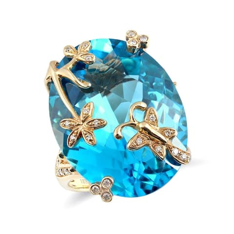 18K Yellow Gold 28.98ct TGW Oval-cut Swiss Blue Topaz and Diamond One-of-a-Kind Ring