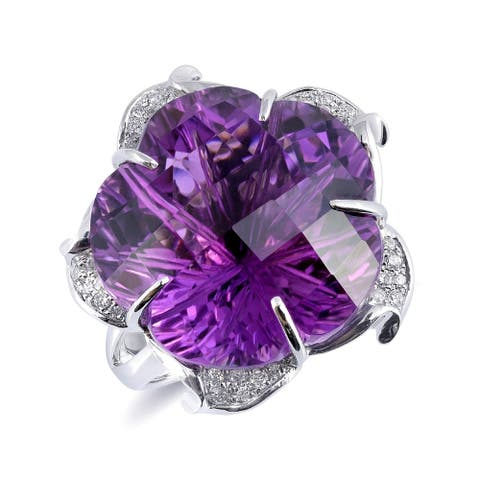 18K White Gold 23.94ct TGW Flower-cut Amethyst and Diamond One-of-a-Kind Ring