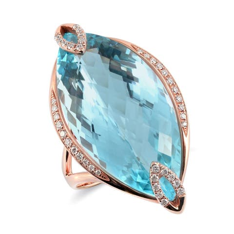 18K Rose Gold 24.15ct TGW Marquise-cut Sky Blue Topaz and Diamond One-of-a-Kind Ring