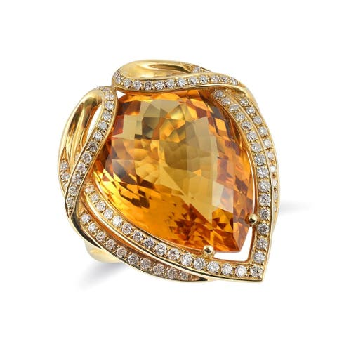 18K Yellow Gold 16.09ct TGW Pear-cut Citrine and Diamond One-of-a-Kind Ring