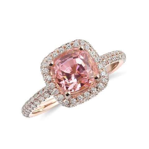 14K Rose Gold 3.14ct TGW Cushion-cut Pink Sapphire and Diamond One-of-a-Kind Ring