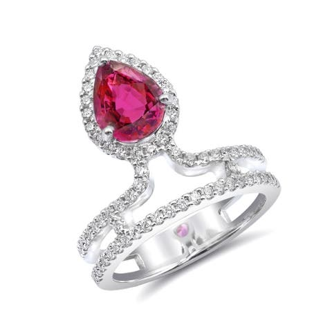 14K White Gold 2.48ct TGW Pear-cut Ruby and Diamond One-of-a-Kind Ring