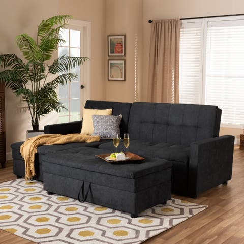 Contemporary Upholstered Sectional Sleeper Sofa with Ottoman