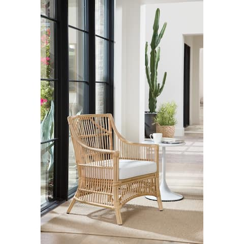 The Curated Nomad Wicks Rattan Arm Chair with Cream Cushion