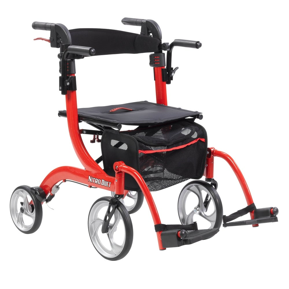 Drive Medical Nitro Duet Dual Function Transport Wheelchair and Rollator Rolling Walker