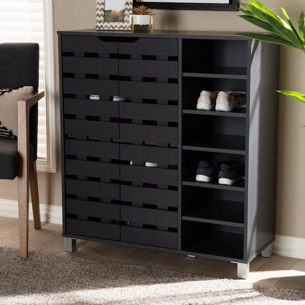 Modern and Contemporary Shoe Storage Cabinet with Open Shelves