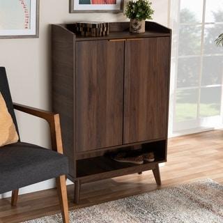 Mid-Century Modern 5-Shelf Wood Shoe Cabinet