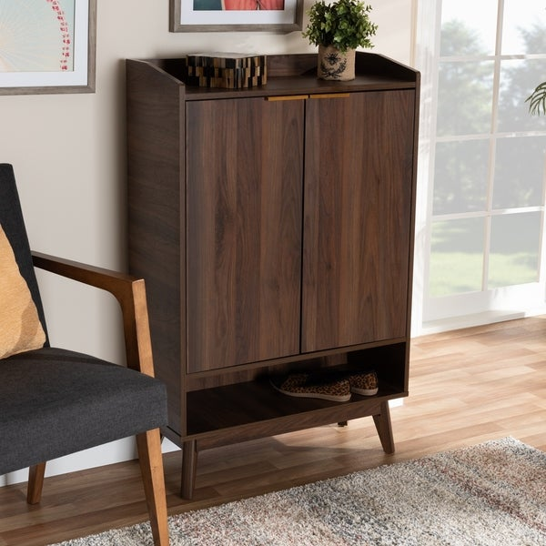 Mid-Century Modern 5-Shelf Wood Shoe Cabinet
