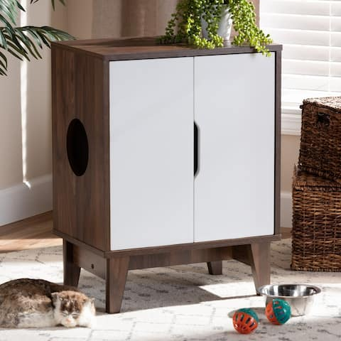 Mid-Century Modern 2-Door Wood Cat Litter Box Cover House