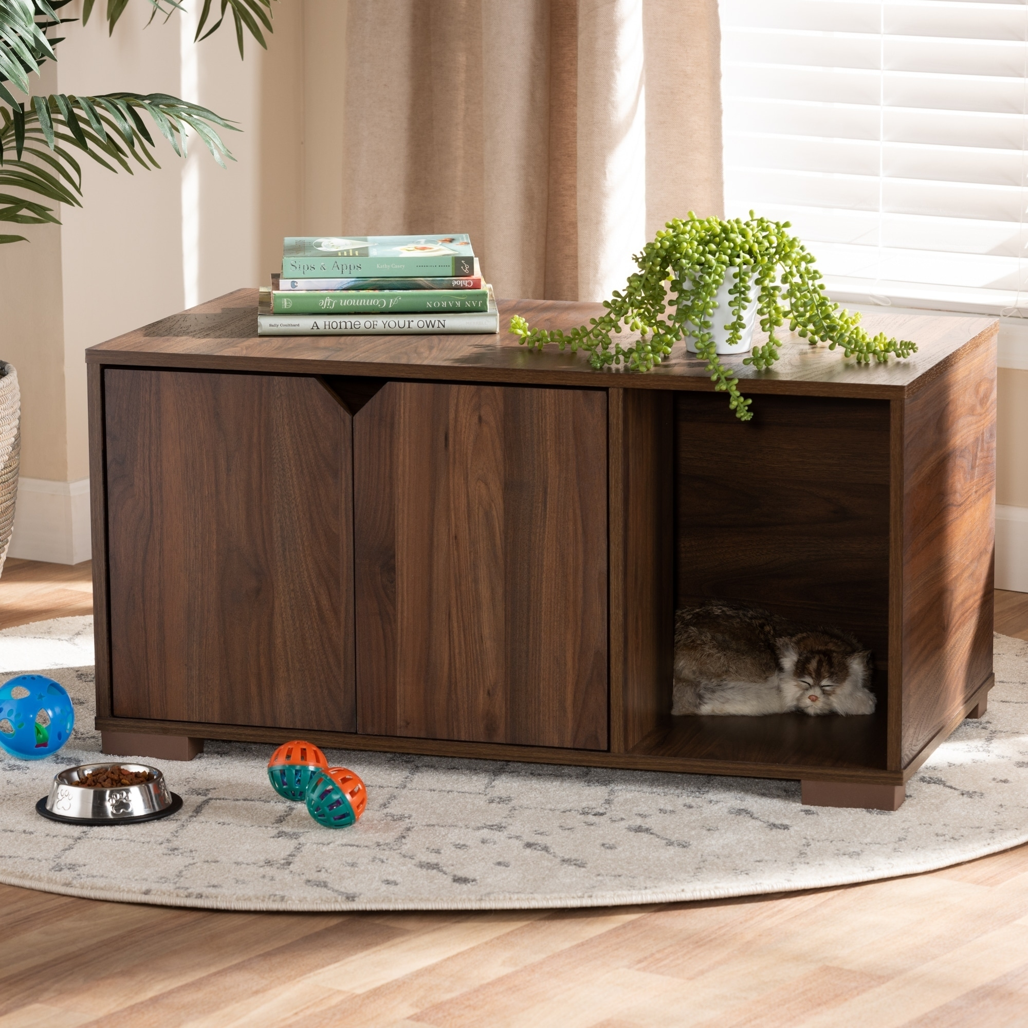 Modern And Contemporary 2 Door Wood Cat Litter Box Cover House