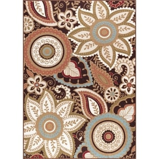 Brown Floral Paisley Transitional Non Skid Area Rug