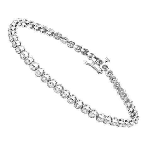 3 Carat Modern Bezel Set Round Cut Diamond Tennis Bracelet in 14K Gold by Luxurman