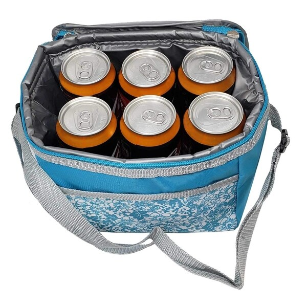6 Can Cooler Lunch Carry Tote Bag-Soft Adjustable Shoulder Straps Insulated Zipper for Picnic Outdoor Indoor Travel. Opens flyout.
