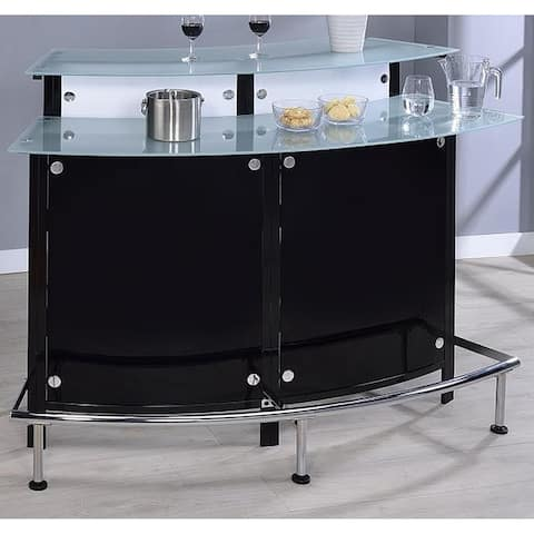 Lawrence Modern Glossy Black Glass Bar Station Unit