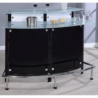 Lawrence Modern Glossy Black Glass Bar Station Unit