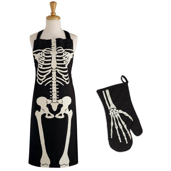DII Skeleton Print Apron & Oven Mitt Kitchen Set. Opens flyout.
