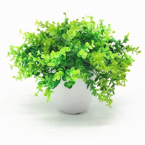 Enova Home Artificial Eucalyptus Grass in Round Decorative Vase - Green