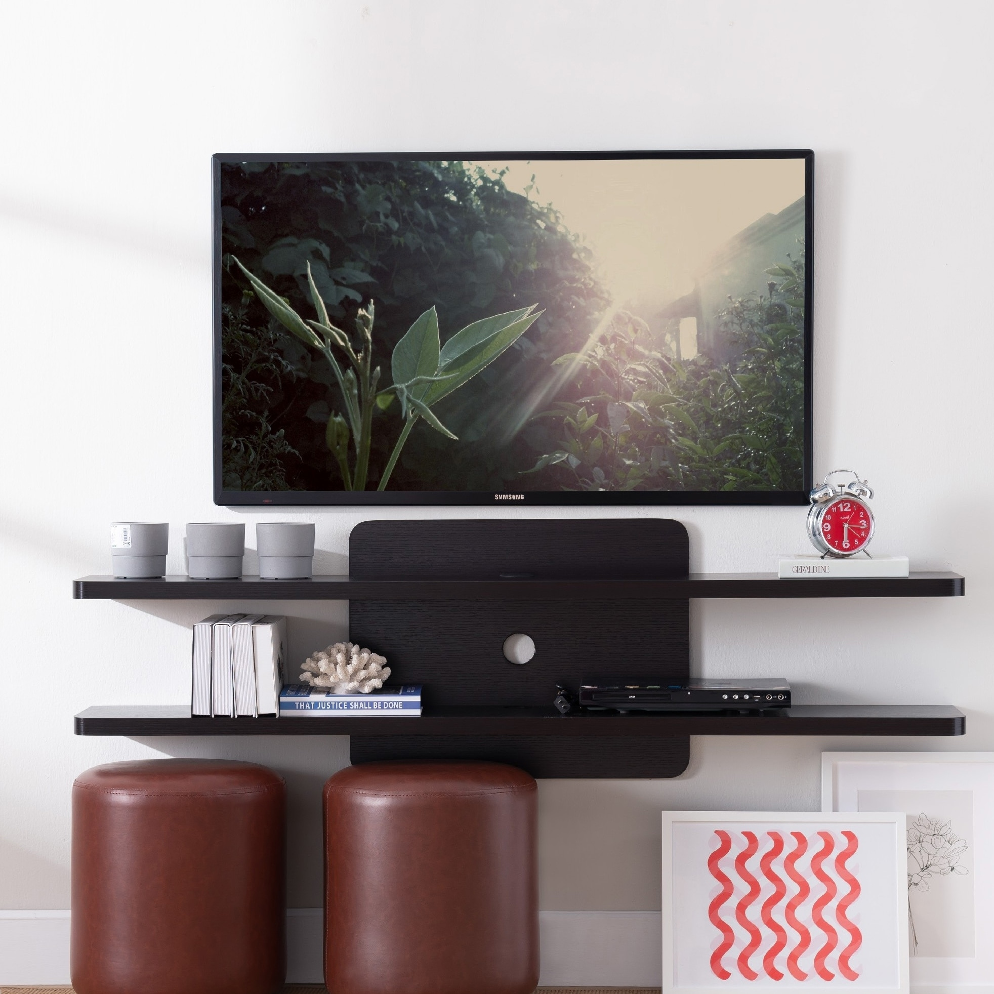 Home Garden Modern Entertainment Centers Tv Stands 58 Wood Wall Mount Floating Media Center Tv Stand Shelf Media Console Cd Storage Anios Am