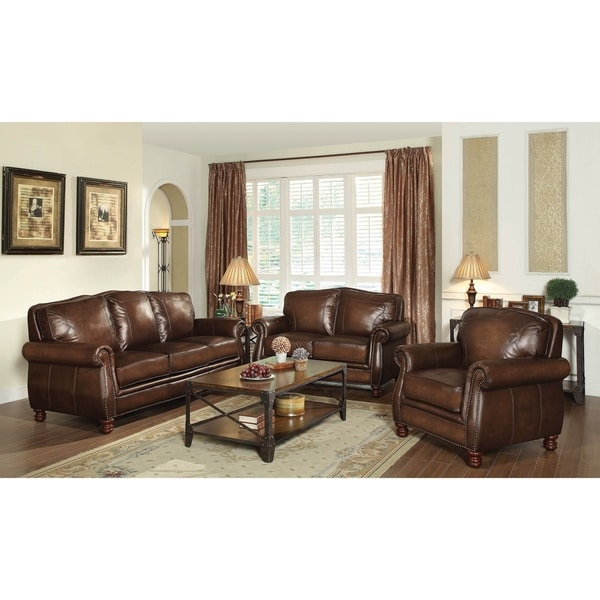 Ripley Hand Rubbed Brown 3-piece Living Room Set
