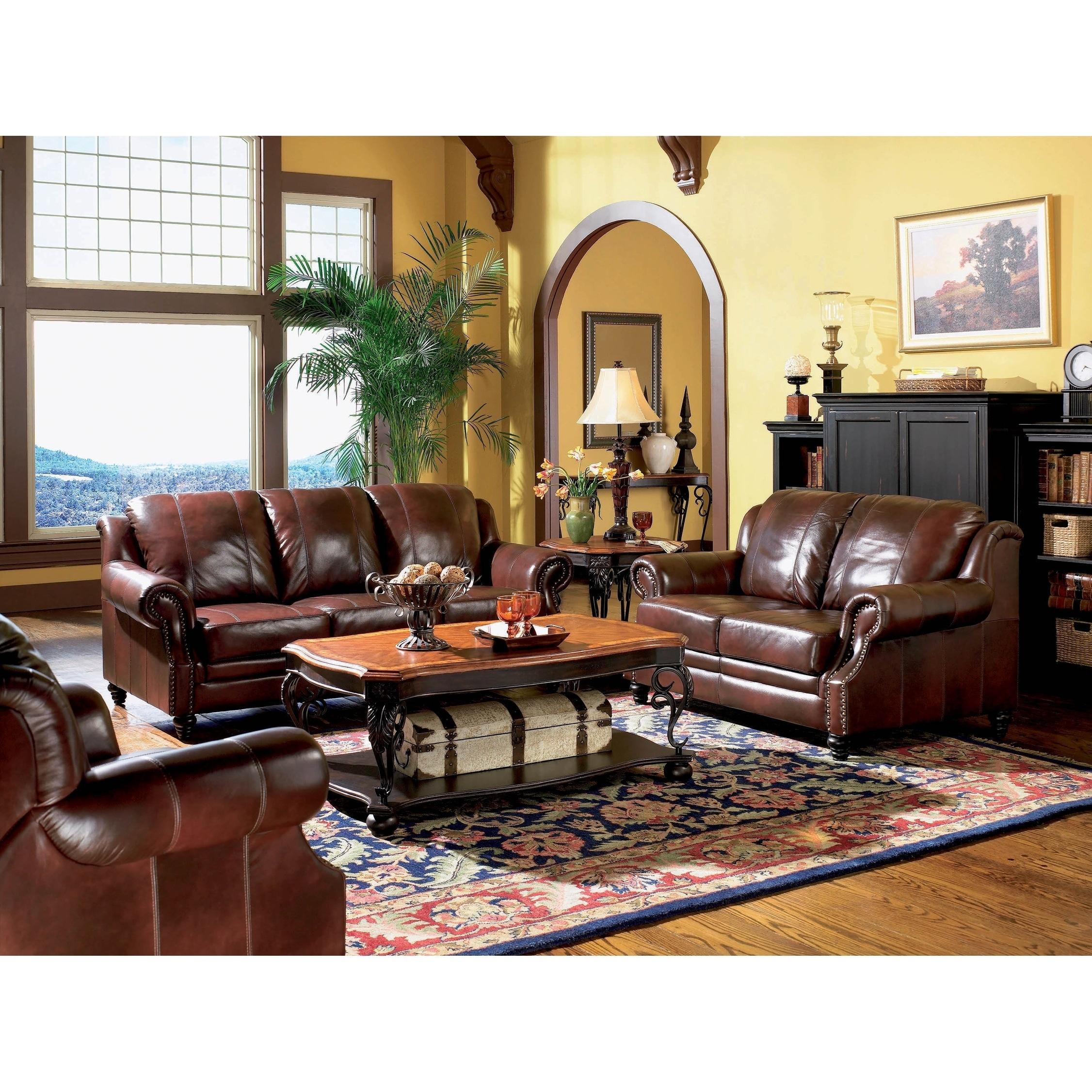 Verona Burgundy 3-piece Rolled Arm Living Room Set