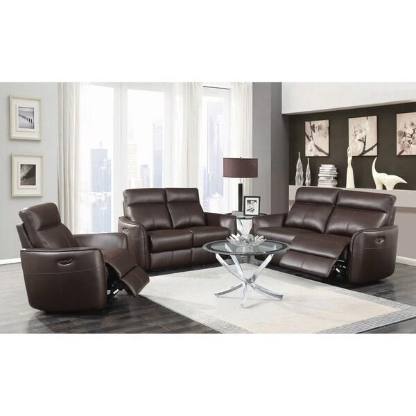 Belmont Dark Brown 2-piece Flared Arm Power^2 Living Room Set