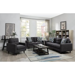 Trevor Grey 3-piece Track Arm Living Room Set